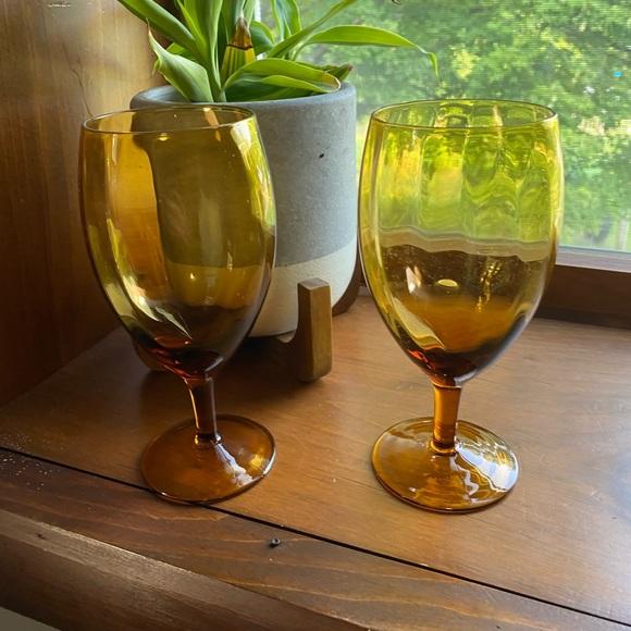 Vintage Other - Amber glass goblets wedding fall decor barware